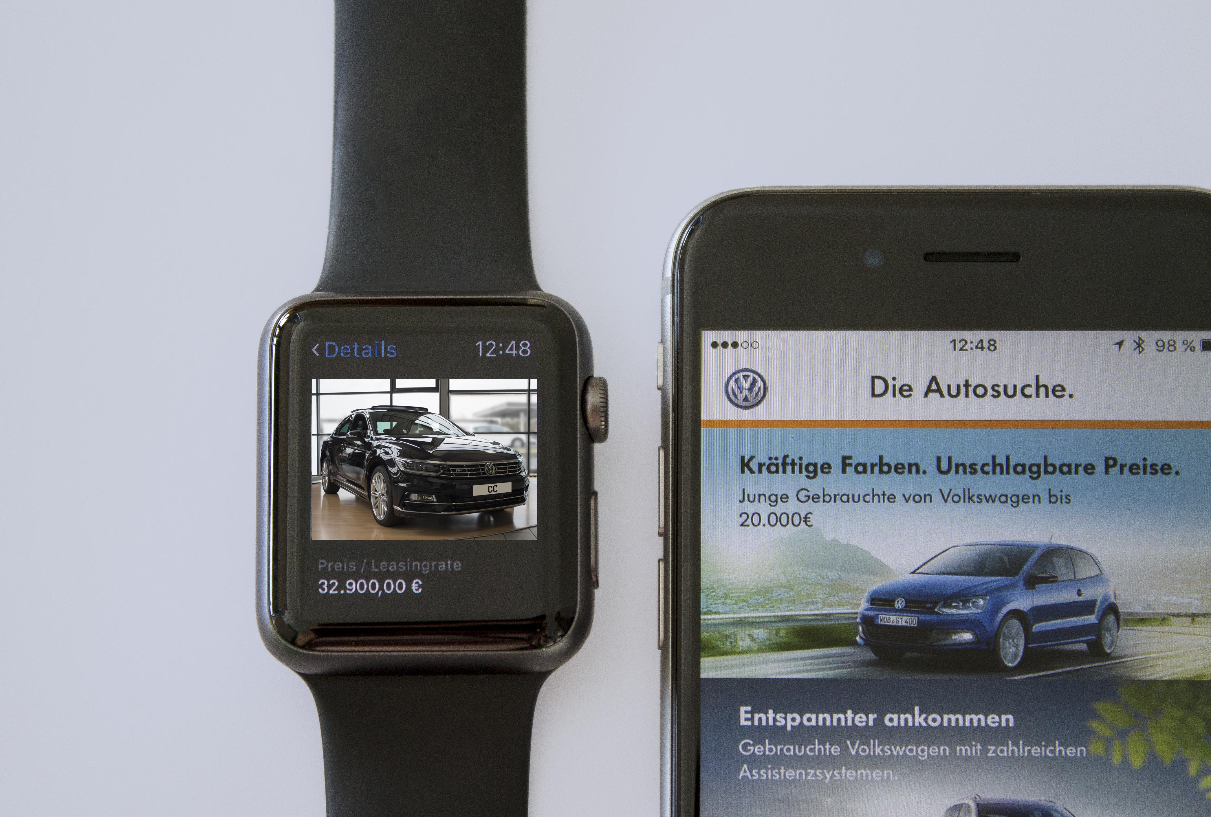 Autosuche via Smartphone und Apple Watch